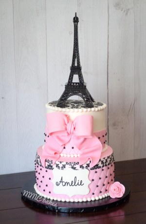Paris themed cake pink black white