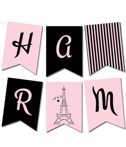 free printable Paris pennant banner