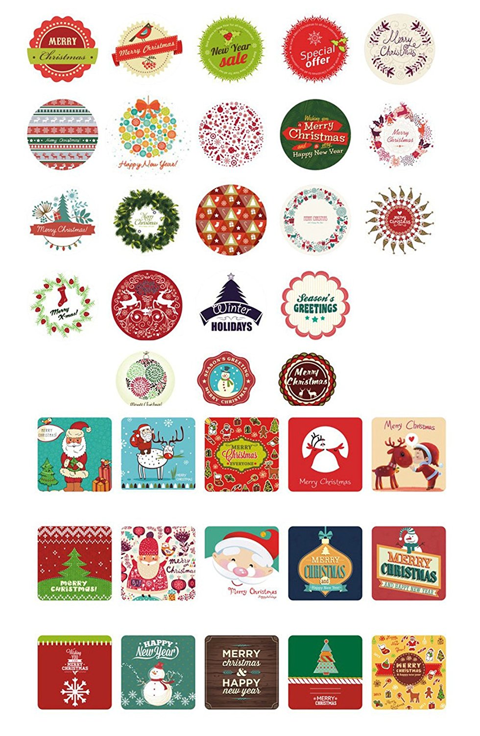 Christmas Holiday Stickers 37 Assorted Designs Stickers