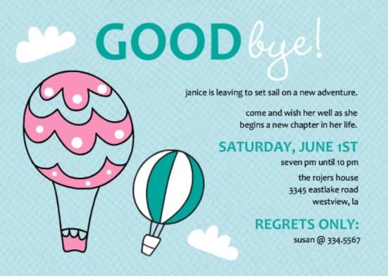 Going Away Party Ideas Purpletrail Balloon Farewell Invitation