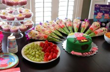 Lovely cake and healthy colourful snacks