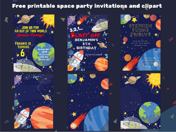 outer space birthday party free