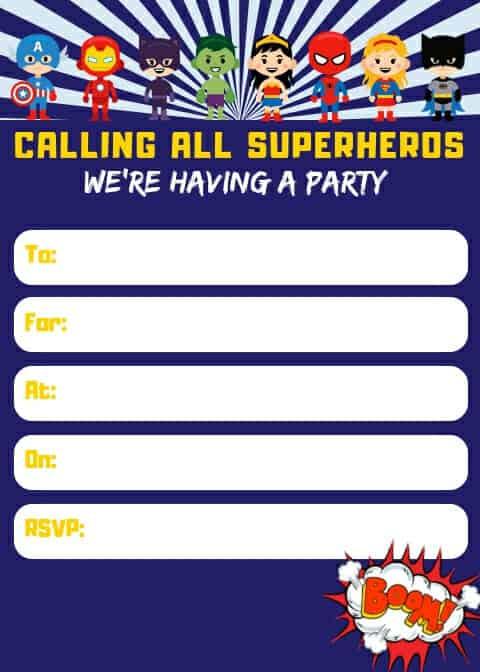 free printable superhero invitations