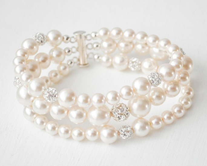 Nicole_Bridal Crystal and Pearl Bracelet
