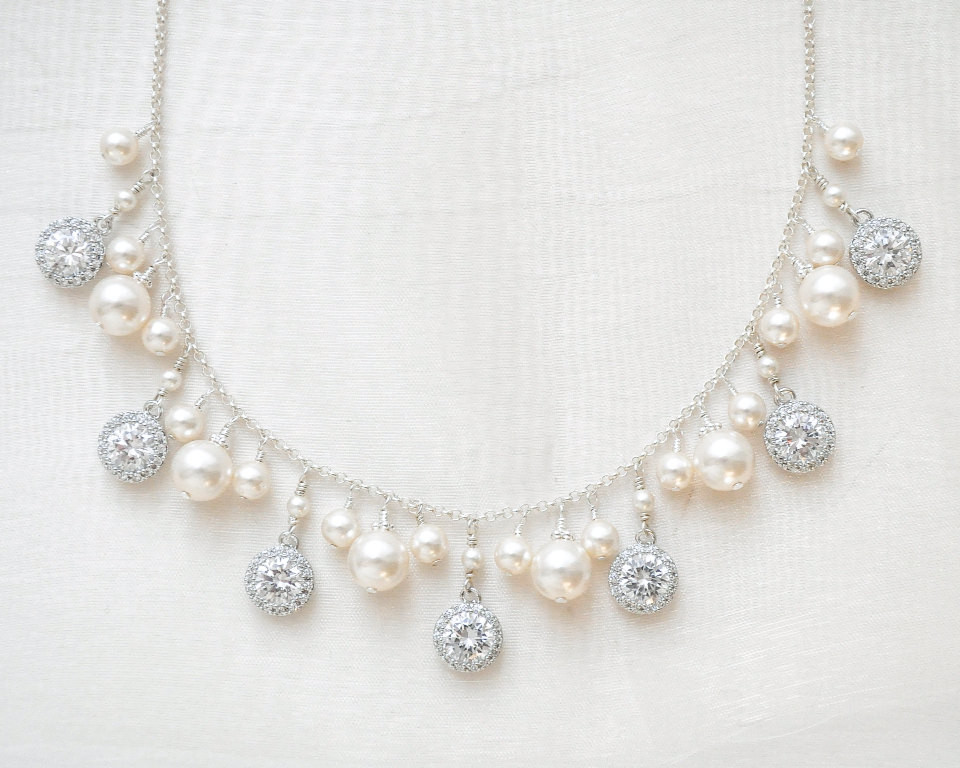 Duchess_Stylish Silver Bridal Necklace with Pearls and Crystals