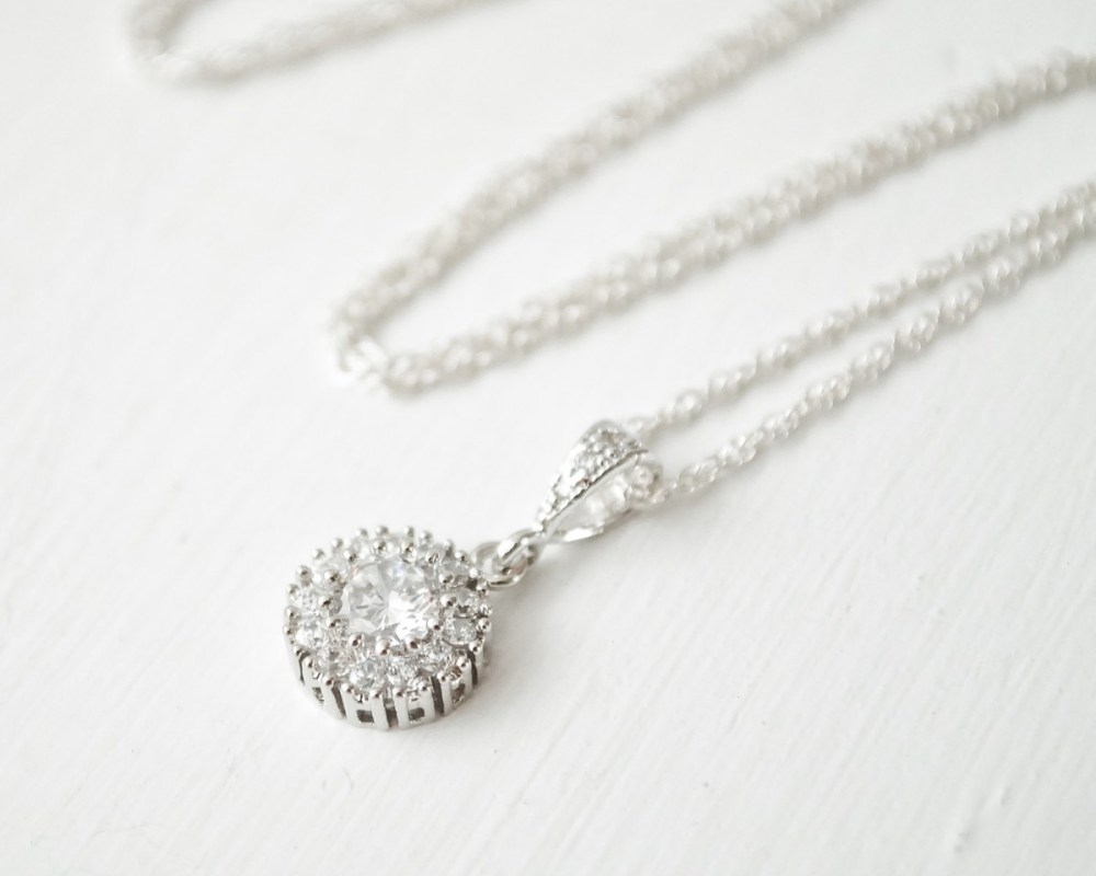 Laurianne Delicate Bridal Crystal Silver Pendant Necklace