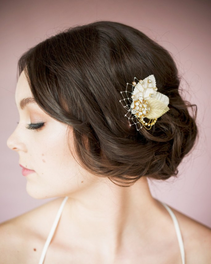 Patty_Bridal Hair Accessory_Gold Barrette Fascinator Hair Clip