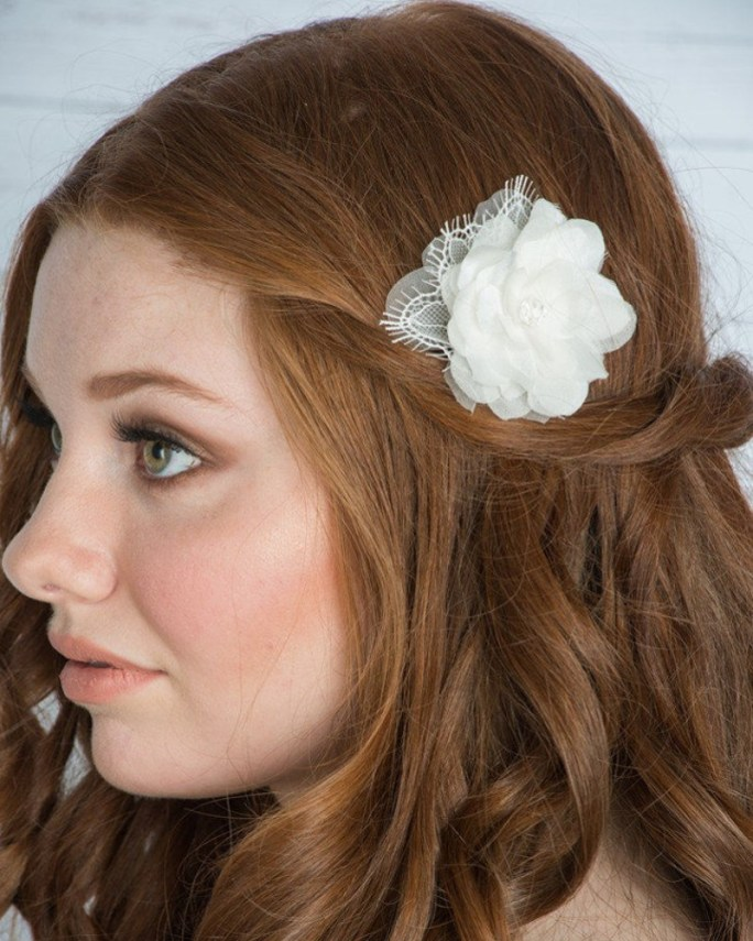 Clara_Bridal Hair Accessory_Organza Silk Flower_Hair Clip