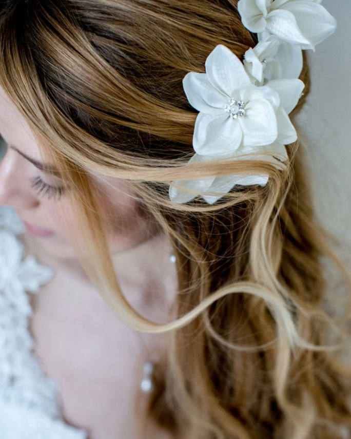 Gardenia_Bridal Hair Accessory_Satin Silk Flower Comb