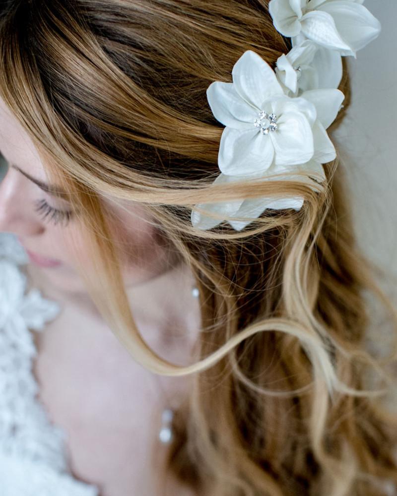 Gardenia_Bridal Hair Accessory_Satin Silk Flower Comb