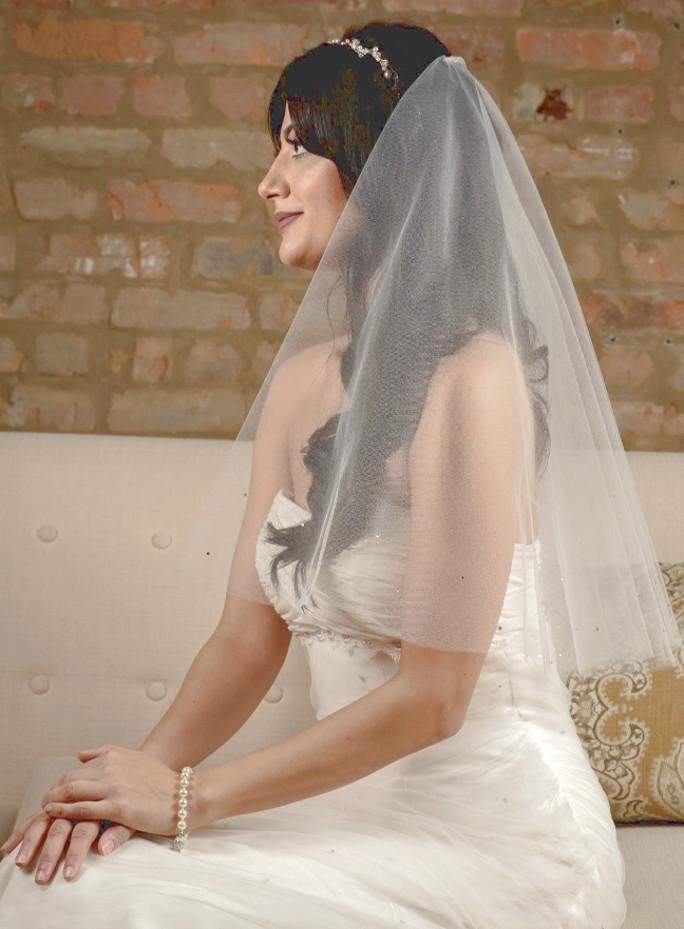 Gloria_Two Tier Shoulder Length Bridal Veil with Swarovski Crystals