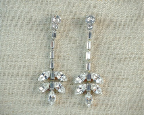 Isabella_Silver Bridal Drop Earrings with Crystals