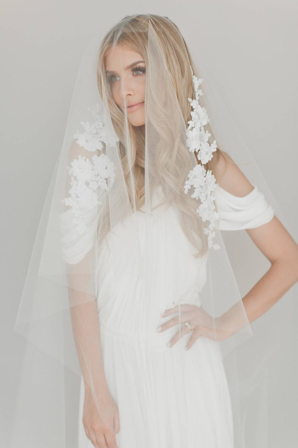 Gianna Veil_Two Tier Chapel Length Bridal Veil with French Alençon Lace Appliqués and Swarovski Crystals