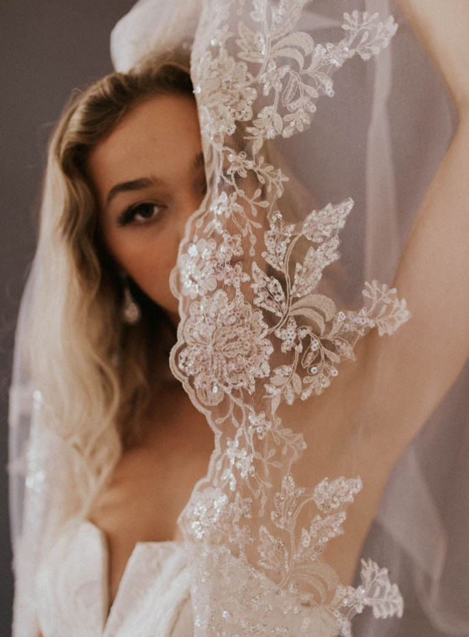 Havanna_One Tier Cathedral Bridal Veil with silver beading and embroidery_main product pic