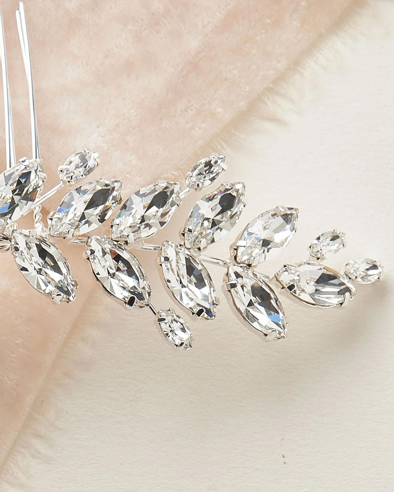 Crystal Leaf Back Comb_Bridal wedding Comb with marquise crystals
