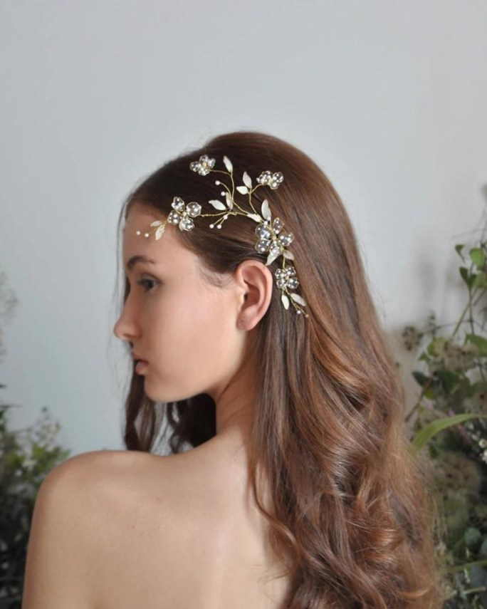 Astrid_Bridal floral branch Headpiece with hand painted flowers & leaves, Japanese pearls, gold details