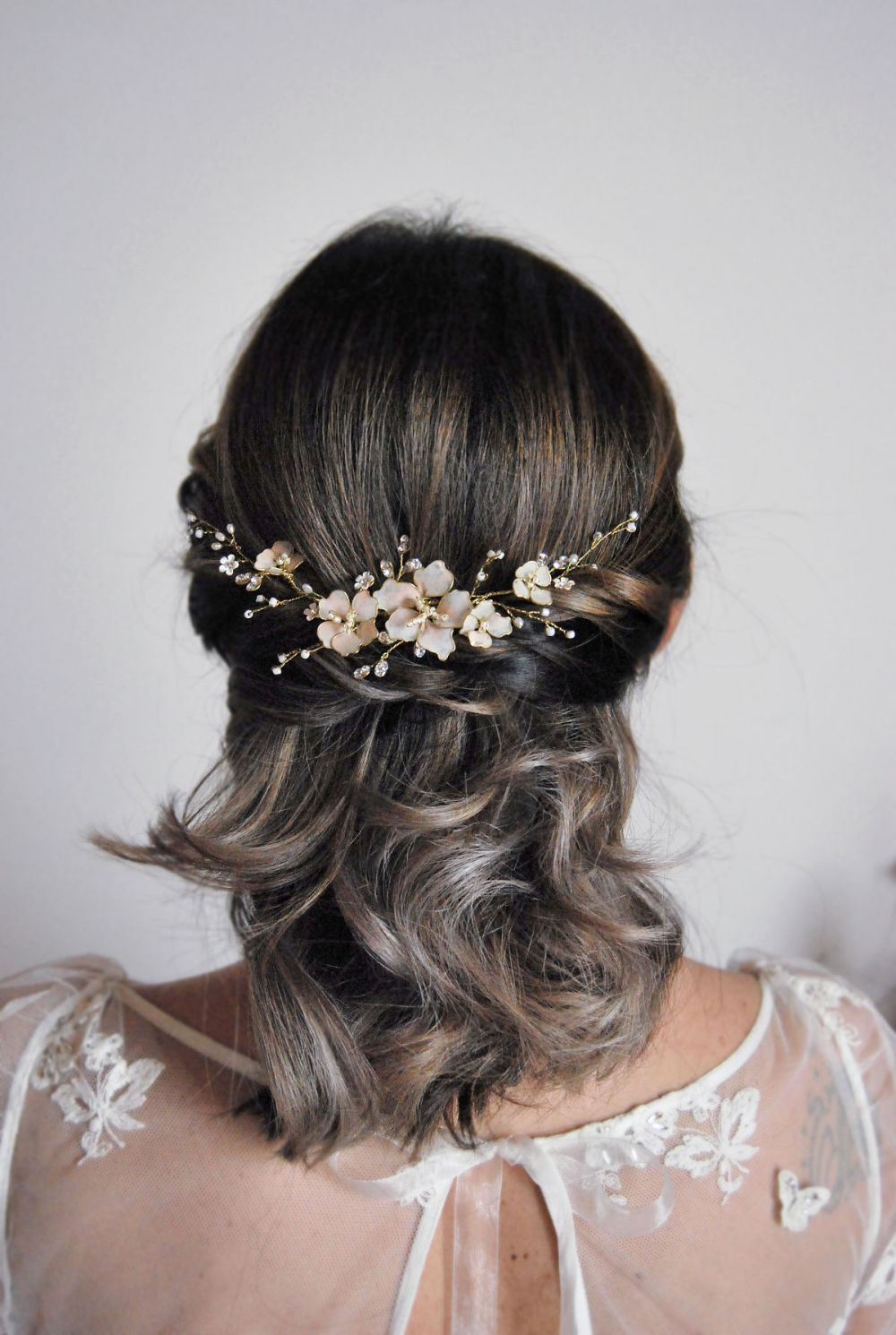 Camila_Bridal Halo with hand painted blush pink Cherry blossoms, crystals and white beads