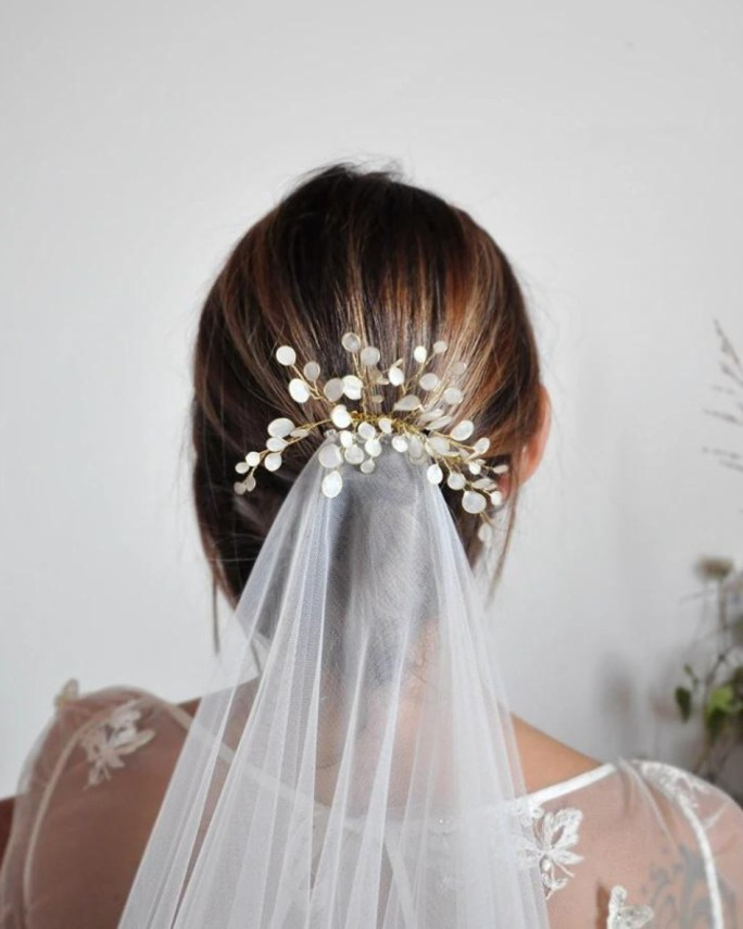 Serenity_White eucalyptus Bridal hair comb -Handmade and hand painted white leaves