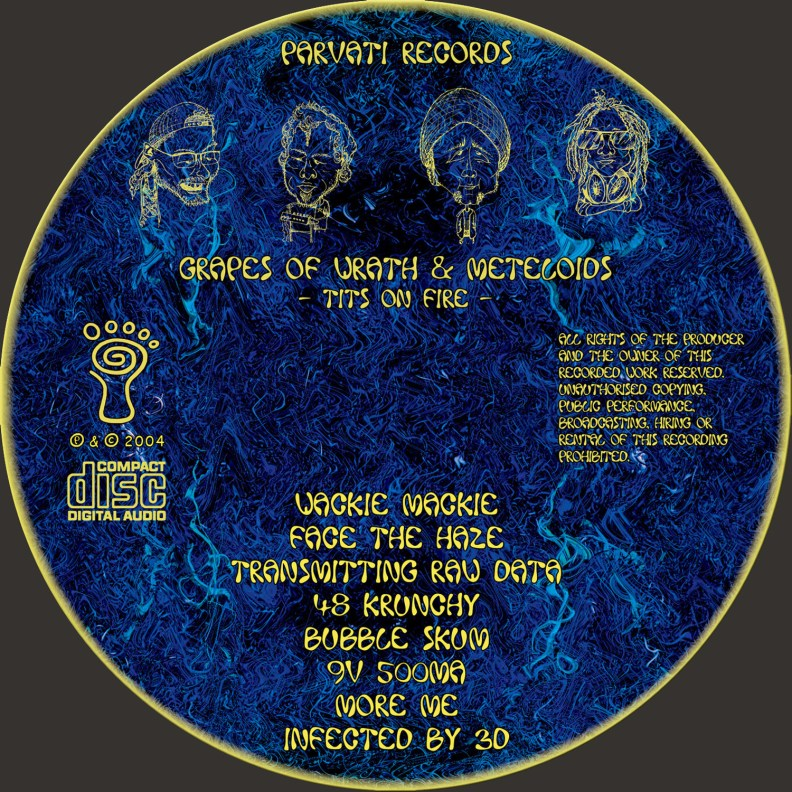 Split Album - Grapes of Wrath & Meteloids - Tits on Fire - prvcd07 - CD image