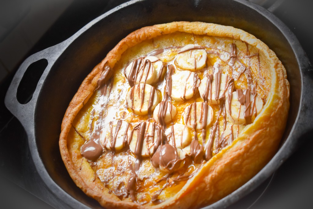Banana Nutella Dutch Baby Pancake - Parveenskitchen.com