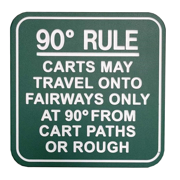 Image of 90 Degree Rule Traffic Sign in green with white border and text