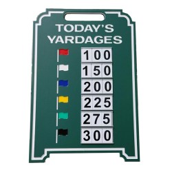 Image of Driving Range Six Yardage Easel in green with white border
