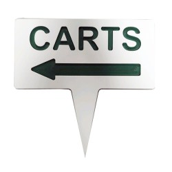 Image of Plastic Arrow Carts Traffic Sign in white with green text