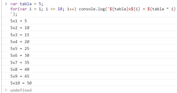 Tabla de multiplicar con ES6