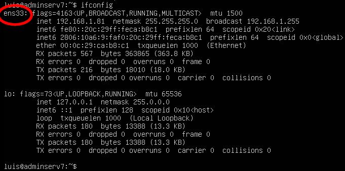 Origen de ens33 como interfaz predeterminada en al poner IP estática en Ubuntu Server 18.04