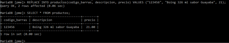 Actualizar datos con replace into en MySQL