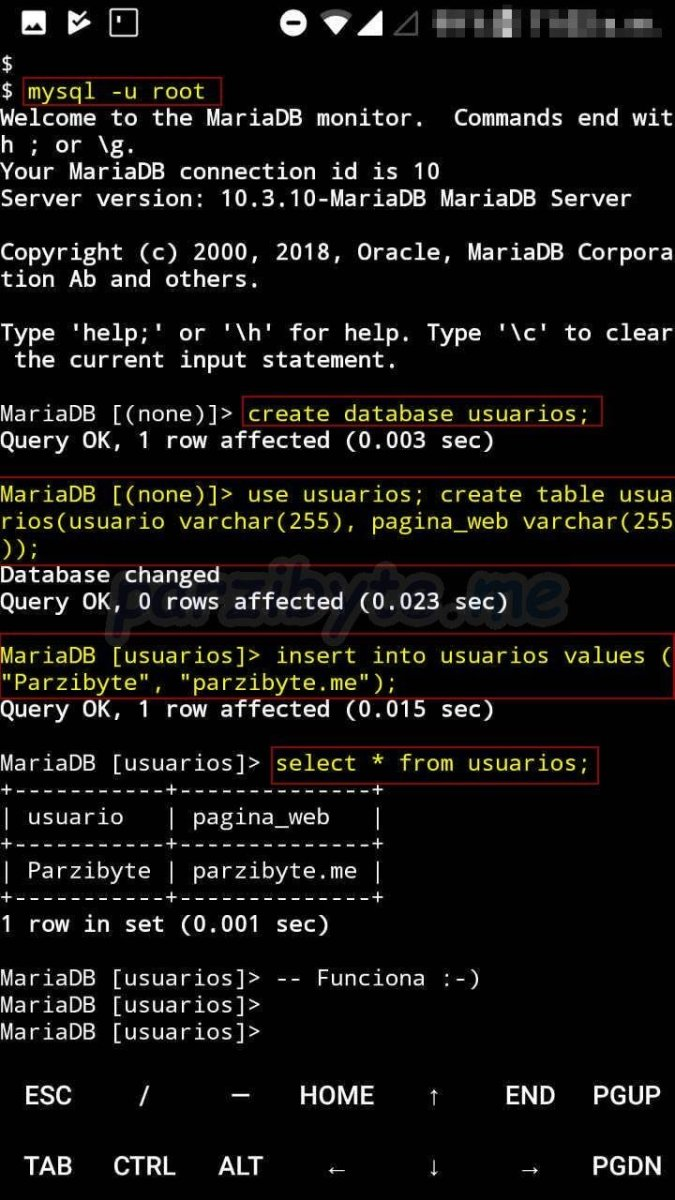 Instalar MySQL (MariaDB) en Android con Termux