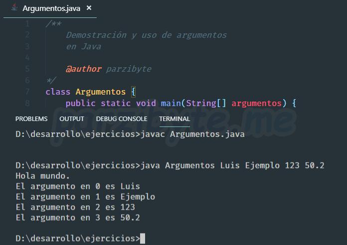 Demostración, explicación, ejemplos y usos de String args en Java