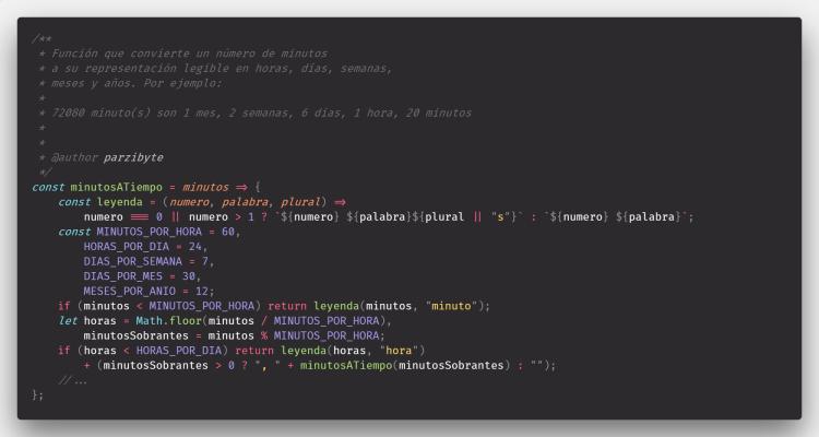 Minutos a tiempo legible en JavaScript