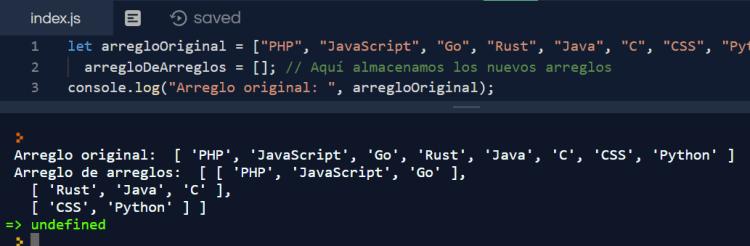 Dividir arreglo en trozos pequeños con JavaScript