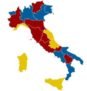 Partidos más votados: Centroizq (Rojo) Centroder (Azul) M5S (Amarillo)