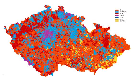 Resultados según partido más votado