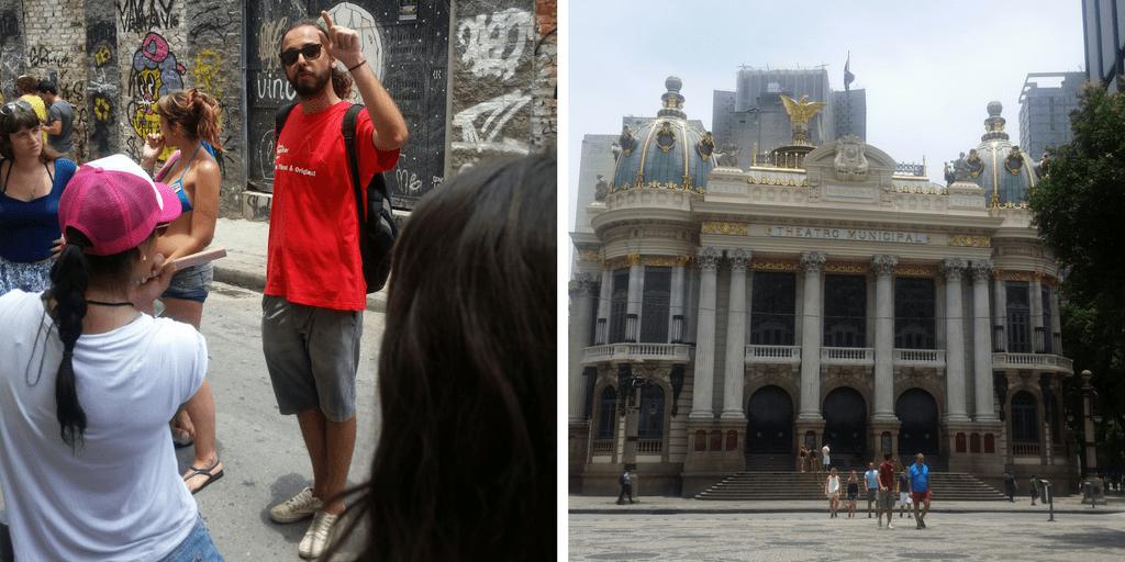 Joaquín, el guía del free walking tour y el Teatro Municipal de Río, una de las paradas