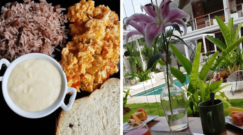 El desayuno vegetariano y las vistas desde el restaurant