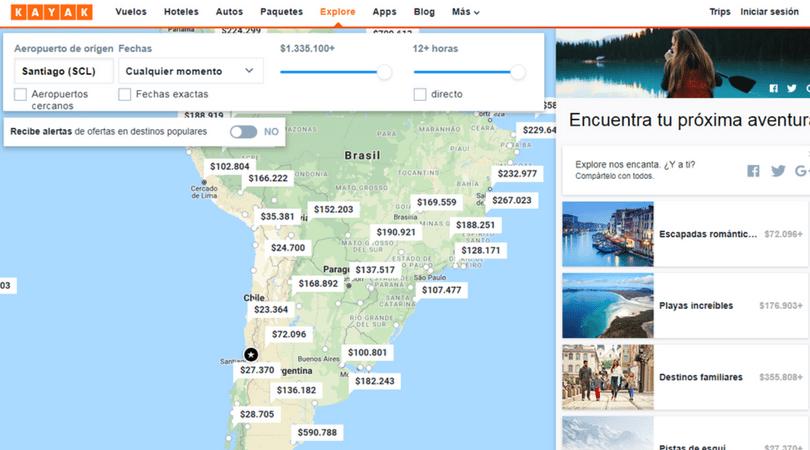 En Explorar puedes ver todos los precios desde un determinado origen en cualquier fecha y aplicar los filtros que quieras