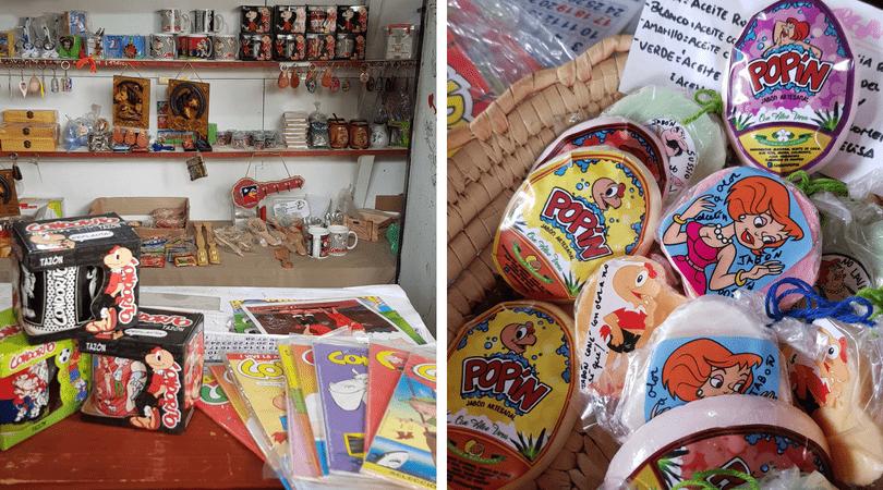 La tienda de souvenirs PLOP! y los cómicos jabones Popín y Sussio