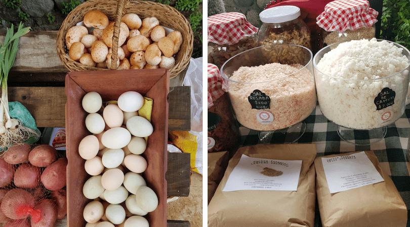 En la feria orgánica encuentras productos como los huevos azules, sal de Cahuil y digüeñes