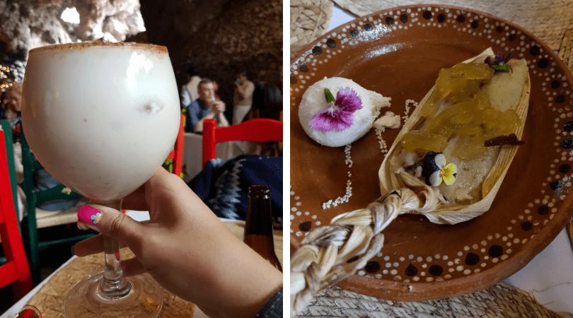 Coctel de mezcal y horchata / tamal dulce con nieve de postre