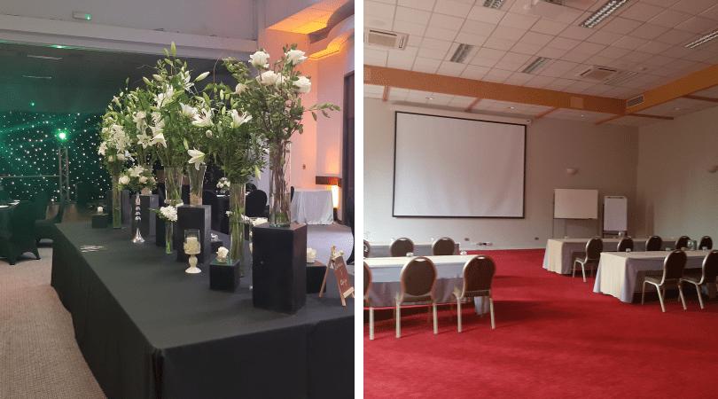 El montaje de un matrimonio y los salones para conferencias empresariales