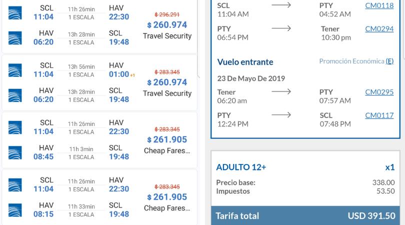 Ejemplo vuelo de Santiago a la Habana