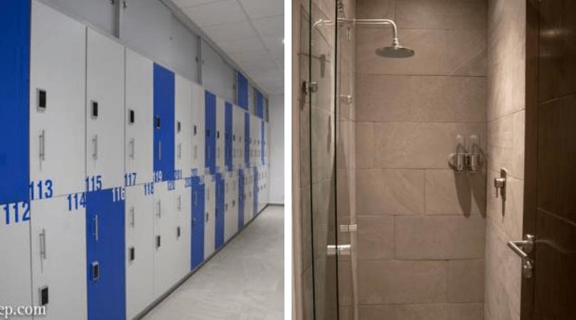 Lockers y duchas, todo perfectamente ordenado