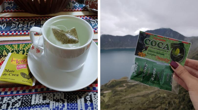 mate de coca en el Cañón de Colca en Perú y caramelos en la subida del cráter del volcán Quilotoa en Ecuador