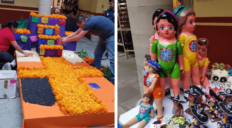 La preparación de los altares y estos tradicionales muñecos de papel maché