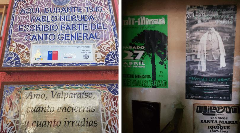 La placa y algo de lo que podrás ver al interior del refugio del poeta