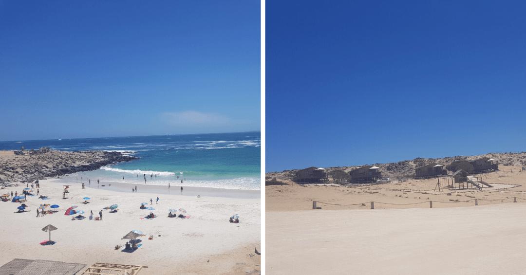 En el extremo superior izquierdo de la playa están situados los sitios de camping, a la derecha algunas de las cabañas y sus juegos infantiles