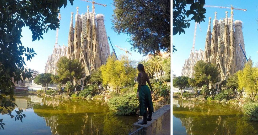 mejores puntos para fotografiar la Sagrada Familia: plaza de Gaudi
